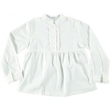 Blouse with ruffle front