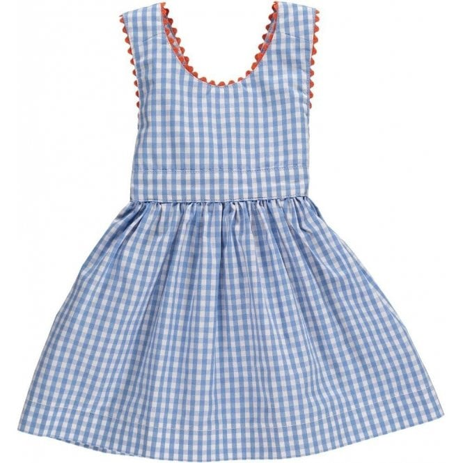 AliOli Kids Blue Gingham Pinafore Dress