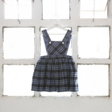 Blue tartan pinafore dress