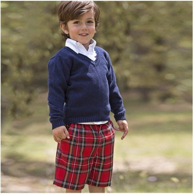 AliOli Kids Boys Berry Tartan Shorts