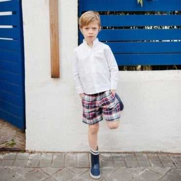 Boys red/blue Tartan Shorts