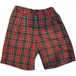 Boys red tartan cotton shorts