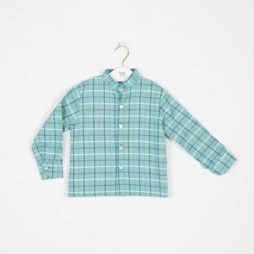 Boys turquoise check shirt
