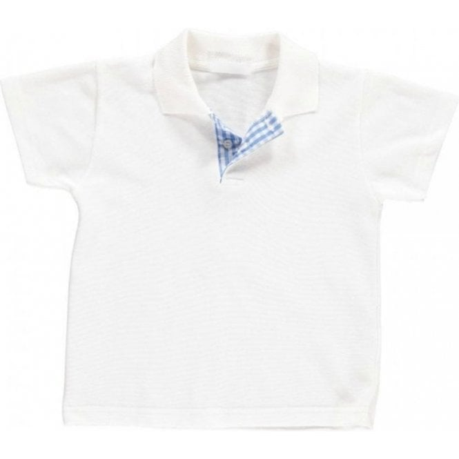 AliOli Kids Boys White Polo With Blue Gingham Lapel