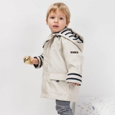 Childrens beige raincoat with nautical lining