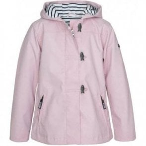 Girls pink raincoat with hood and fish buttons