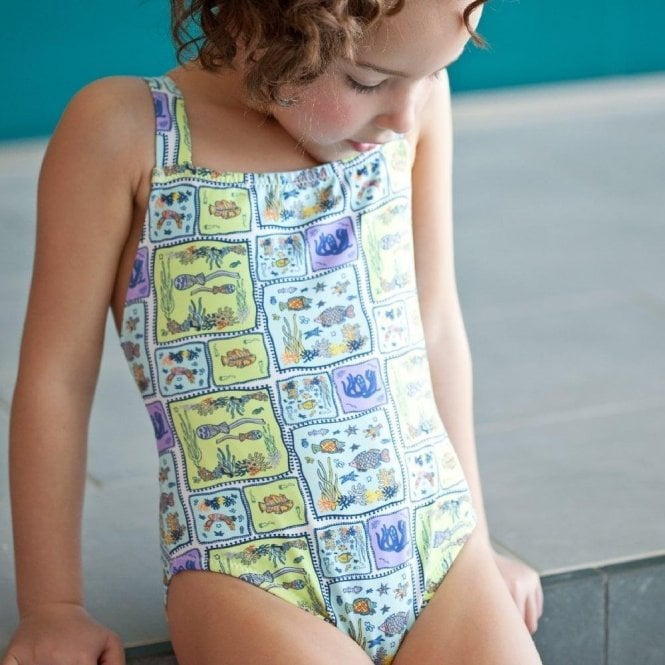AliOli Kids Girls Swimsuit - Blue Sea Creatures