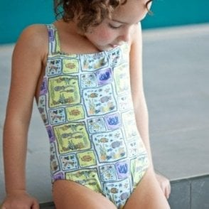 Girls Swimsuit - Blue Sea Creatures