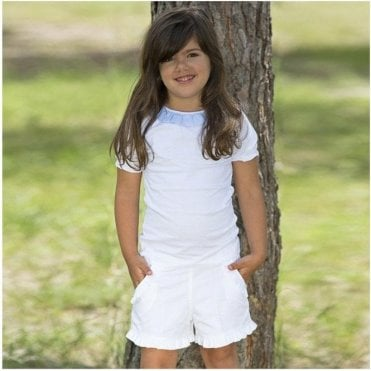 Girls White Cotton Shorts With Frill Pocket