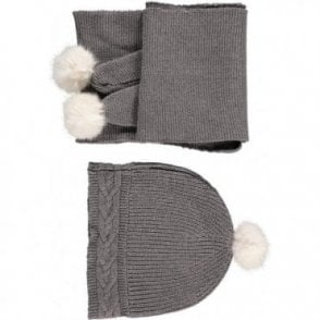 Knitted Pom Pom Hat And Scarf Set