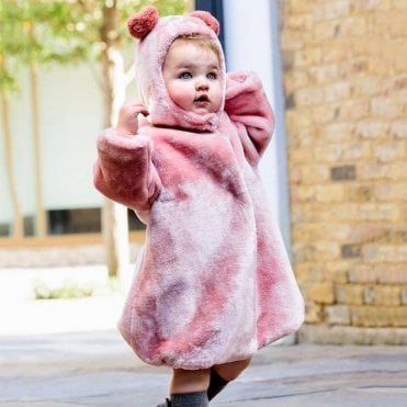Pink fur bear hat