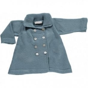 Vintage Style Knitted Baby Coat - Blue