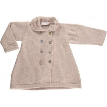 Vintage Style Knitted Baby Coat - Camel