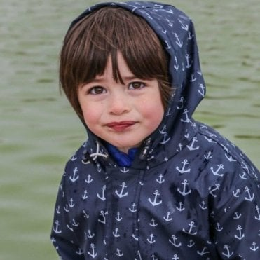 Children Navy Blue raincoat with white Anchors Motif
