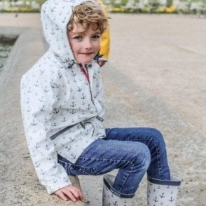Batela Childrens white raincoat with navy blue anchor motif