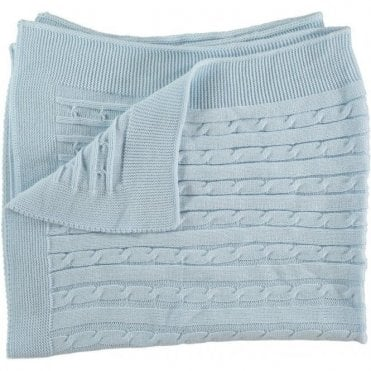 Blue cable knit baby blanket