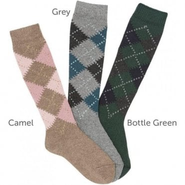 Argyle knee high sock