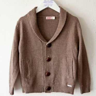 Boys wool mix brown cardigan