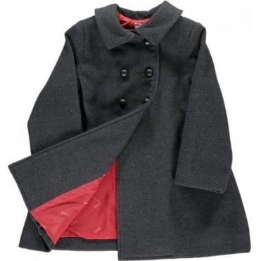 Girls Classic Coat - charcoal