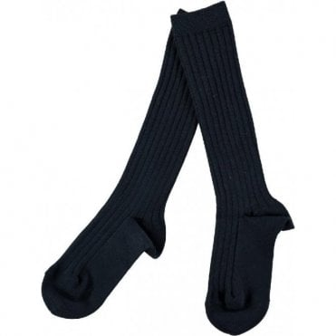 knee high ribbed socks Black