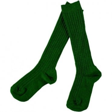 knee high ribbed socks_Bottle green