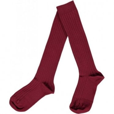 knee high ribbed socks Burgundy
