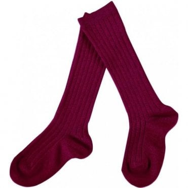 knee high ribbed socks Cardinal