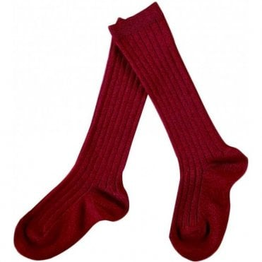 knee high ribbed socks Cherry