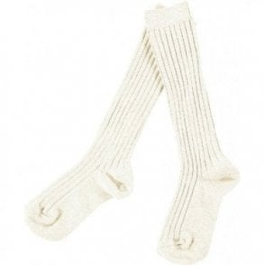 knee high ribbed socks_Cream