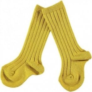 knee high ribbed socks Curry