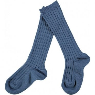 knee high ribbed socks French Blue