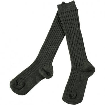 Knee-High ribbed socks_Gun Metal