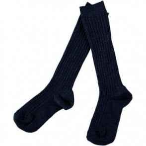 knee high ribbed socks Navy