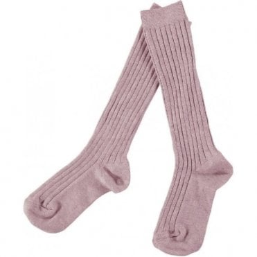 knee high ribbed socks Pale Pink