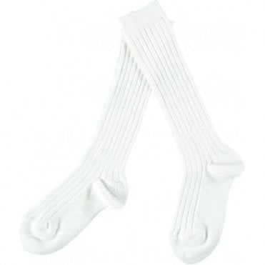 Knee-High ribbed socks_White