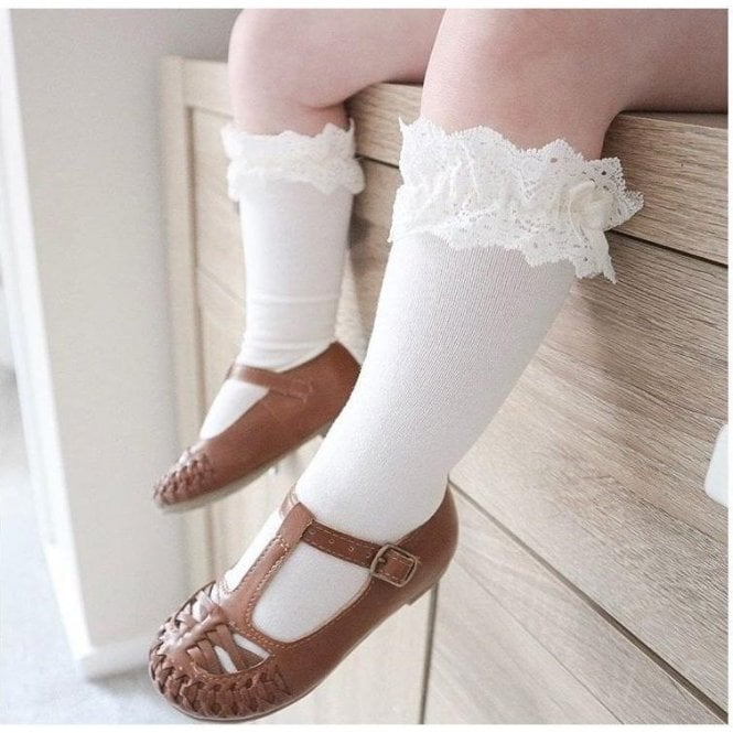 Condor Lace Trim Knee High Socks with Bow