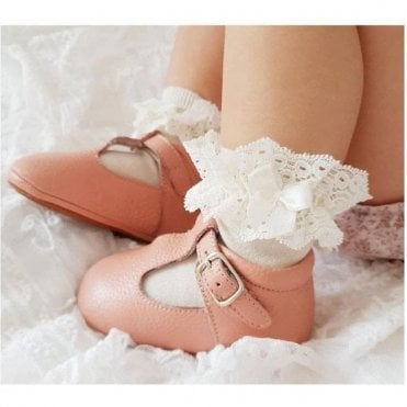 Lace Trim Short Socks with Bow