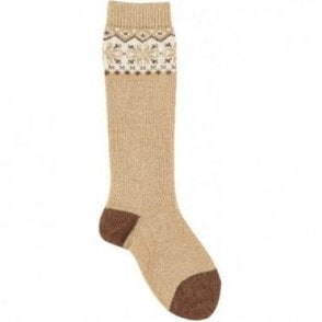 Long fairisle socks - BEIGE