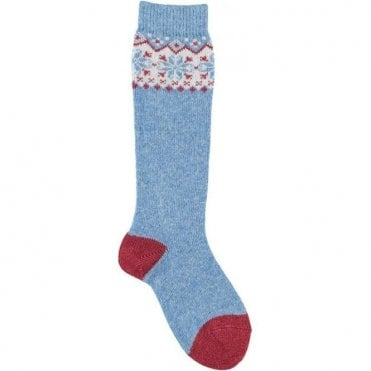 Long fairisle socks - BLUE