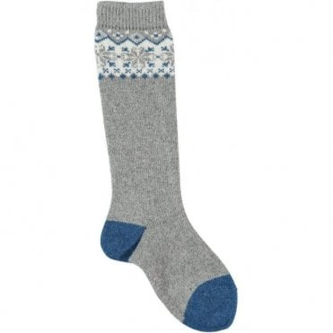 Long fairisle socks - GREY