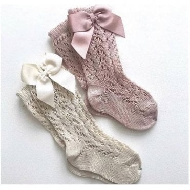 Openwork knee high socks with bow