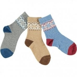 Short fairisle socks - GREY_BLUE_BEIGE