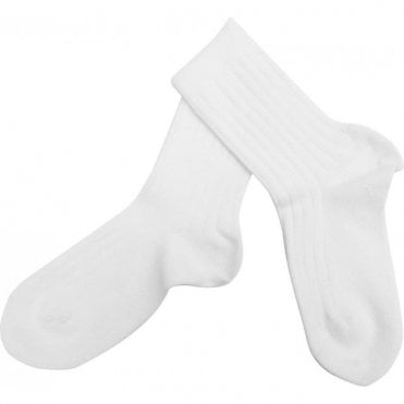Short ribbed socks_White