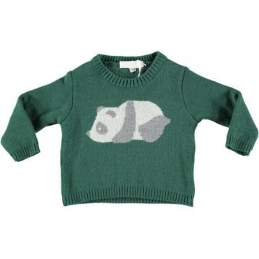 Boys green panda jumper
