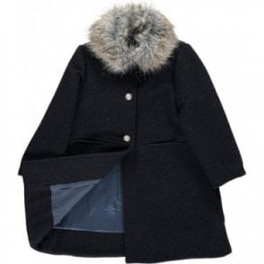 Classic charcoal coat with detachable fur collar