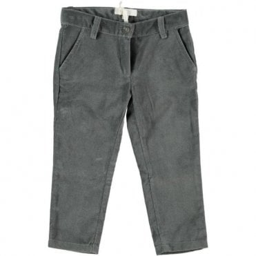 Girls charcoal fine cord trousers