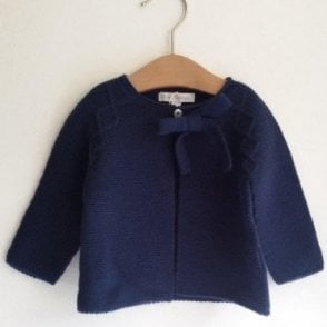 Girls knitted navy cardigan