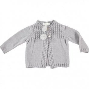Grey cardigan with pom poms
