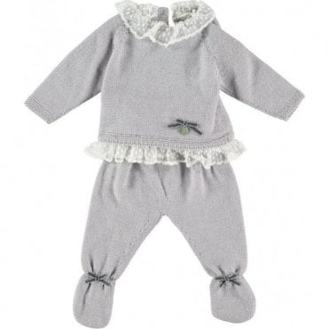 Knitted two piece merino wool baby set