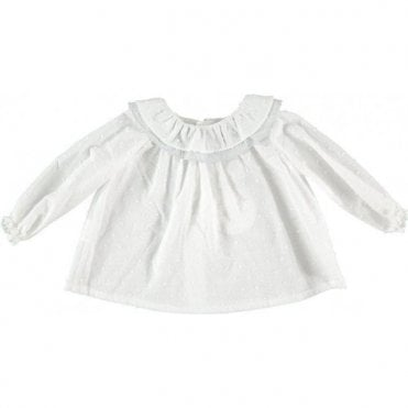 White baby blouse with frill colar
